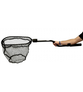 """YakAttack Leverage Landing Net, 12"""" X 20"""" hoop, 47"""" long, with extension and foam for storing in rod holder"""